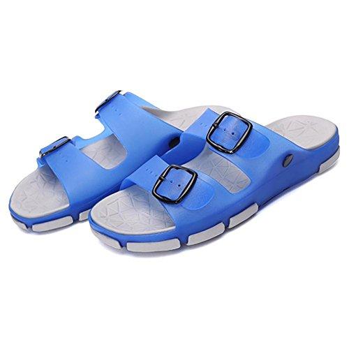 SHANGXIAN Hommes et enfants chaussons & tongs été Latex occasionnels plat talon d'autres marchant bleu marron Blue