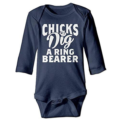 MSGDF Unisex Infant Bodysuits Chicks Dig A Ring Bearer Baby Babysuit Long Sleeve Jumpsuit Sunsuit Outfit Navy (Baby-ring-bearer-outfit)