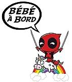 THELITTLESTICKER Sticker Bébé à Bord ! Deadpool et la Vache. H.12 cm
