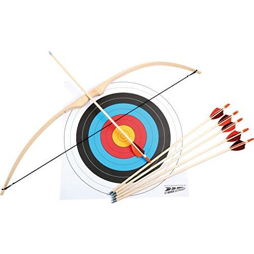 Sportbogen Set aus Rattan-Palmenholz, Zielscheibe inkl. Zubehör (6 Pfeile, Bogen, Sehne und Scheibenauflage), Sportgerät kein Spielzeug, für Kinder ab 6 Jahren