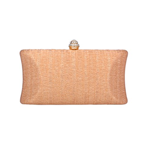 Day of Saturn Luxus Damen Schimmert Clutch Handtasche Mit Strass Schnalle Champagner