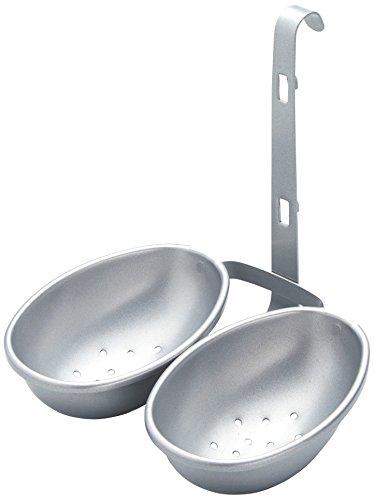 Kitchen Craft KCDBEGGPSIL Antihaft-Eiereinsatz zum Einhängen, Eierbecher, Silber lackiert, Karbonstahl, silber, 13 x 10 x 14 cm