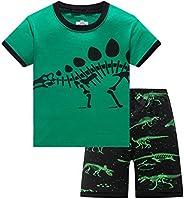 DAWILS Niño Pijamas Dinosaurio Tiburón Algodón Verano Pijamas de Manga Corta para Niños Dos Piezas Pjs 2-10 Añ