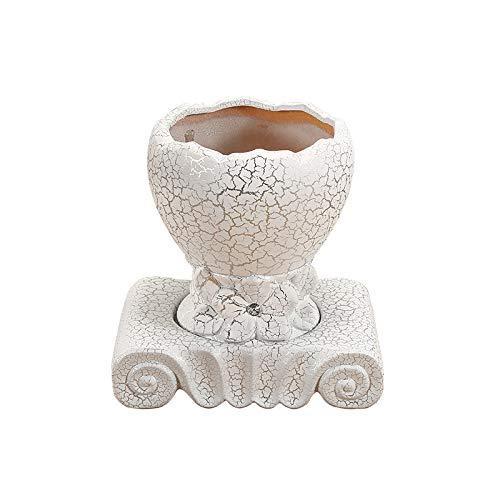 Macetas de cerámica, Blanco, Macetas Grandes for Interiores, con bandejas, Macetas Verdes for Plantas suculentas, Aptos for Salas de Estar, Balcones, Oficinas (Style : A01)
