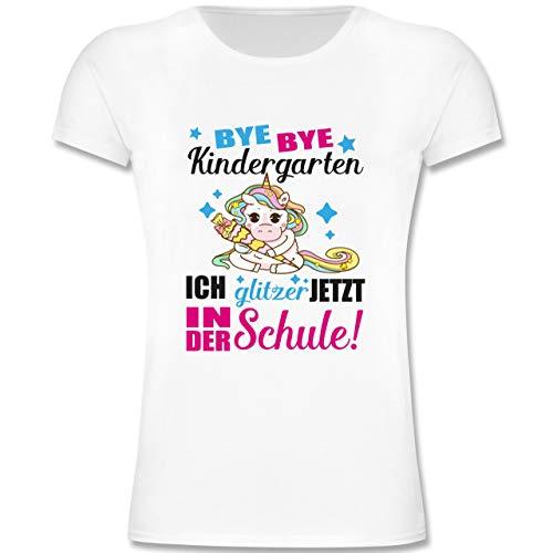 Einschulung und Schulanfang - Ich Glitzer jetzt in der Schule Einhorn mit Schultüte - Fuchsia - 140 (9/11 Jahre) - Weiß - F131K - Mädchen Kinder T-Shirt