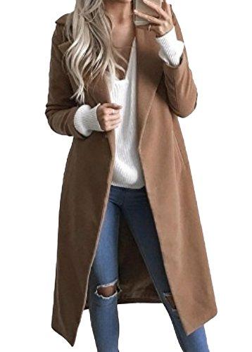 Shallgood elegante autunno inverno giacca di lana trapuntata donna casuale blazer lungo giacche capispalla cardigan cappotti cachi it 40