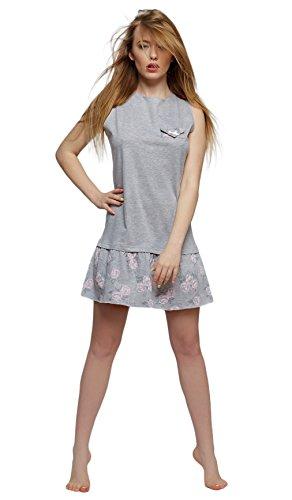 Sensis - Chemise de nuit - À Fleurs - Femme Gris/rose