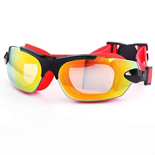 Kinderschwimmbrille wasserdicht und beschlagfrei Silikon Schwimmbrille Kindertauchbrille Box -SM555 schwarz rot