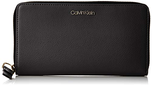 Calvin Klein Jeans Damen Frame Large Zip Around Xl Geldbörse, Schwarz (Black), 3x11x20 cm -