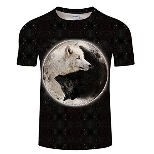 Jonyn Kurzarm T-Shirt Junge Mädchen Casual Top 3D Graphic Baumwolle/Polyester Schnell Trocknend Großformat Wolf Grafik S (Halloween 1977 Tag)