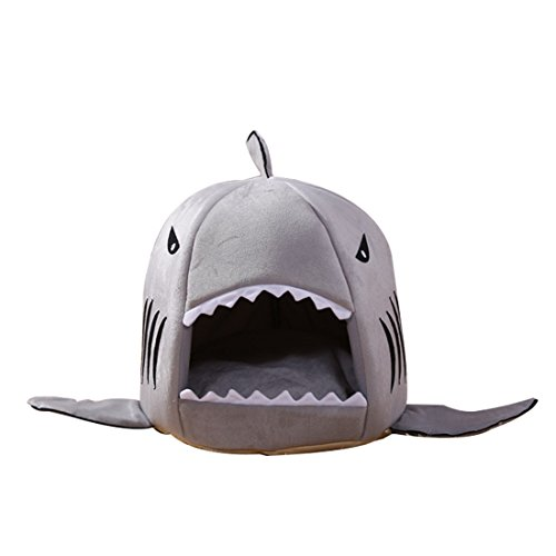 Luwu-Store Pet Products Warm Soft Pet House Sleeping Bag Shark Dog Kennel Cat Bed Cat House-Grey M