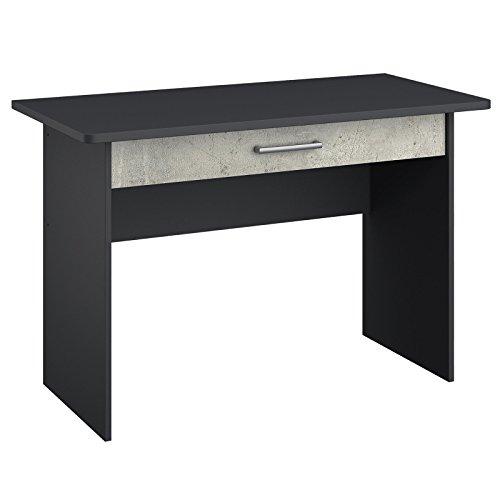 Schreibtisch MALISO Grau-Metallic, Beton-Optik, Breite 110 cm, Höhe 75 cm, Tiefe 64 cm, 1 Schublade (Metallic-breite Schreibtisch)