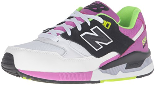 New Balance 530 Lifestyle Leather/Suede/Mesh, Gymnastique femme Bianco (White/Purple)