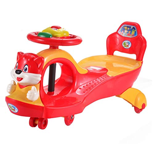 LCM Dreirad-Dreiradauto der Kinder kein Pedalschieber-Babywanderer mit Musikdoppelsitzlastgewicht 100kg 2-4 Jahre altes Geburtstagsgeschenk (Color : ORANGE, Size : 35 * 88 * 45CM)