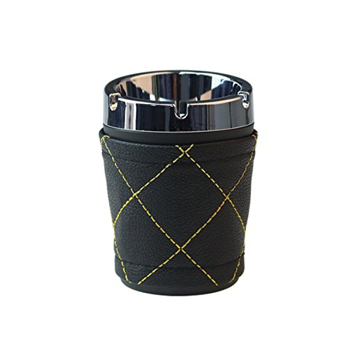 NaNa Portable Aschenbecher Ideen abnehmbare leicht zu reinigen Kunststoff + Leder Auto Zubehör Auto Aschenbecher (11 * 8 * 7 cm) schwarz -