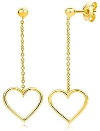 Miore Damen Gelbgold Herz Ohrhänger Ohrringe 14KT (585)