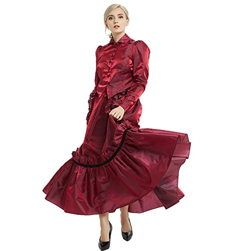 dwardian Kleid Jacke und Rock Anzüge mit Geschäftigkeit (Weinrot, 6) (Vixen Kostüm)