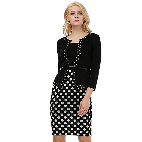 86559aee32 KENANCY Elegante Vestido Lápiz Midi Falda Mangas Largas con Cinturón  Vestidos de Oficina para Mujer ...