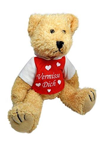 Stofftier Teddy Bär mit T-Shirt rot Ich vermisse Dich Geschenk XL