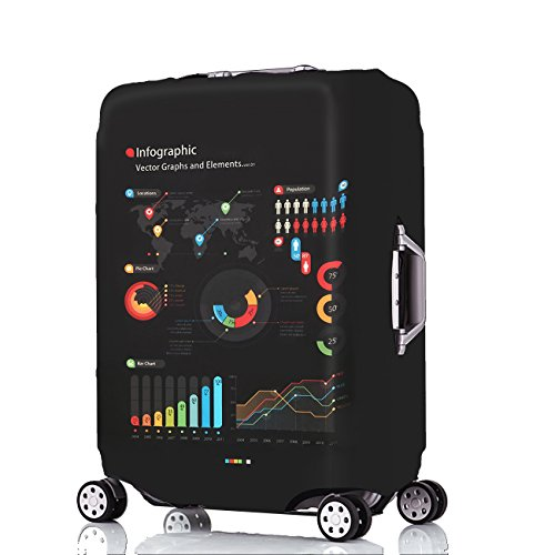 jinsan Shun Housse de valise élastique Luggage Cover 2018nouvelle Coffre de Housse étui couverture Valise bagages Housses de voyage avec fermeture Éclair (Carte Pays/map Motif, L, 25–28pouces) Big Data (L)