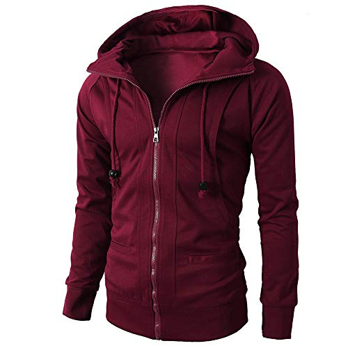 Yvelands Herren Hoodie Pullove Mäntel Herbst Winter Langarm Sport Zipper Hoodie Pullover Bluse ()