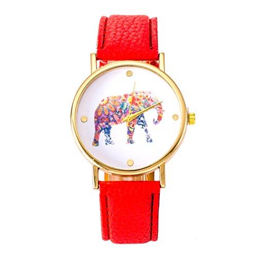 Fashion relojes cinturón ordinario relojes reloj elefante impresión ginebra relojes rojo