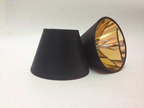 Schwarz Kleine Kerze Clip auf Stoff Lampenschirm Gold Futter handgefertigt Deckenleuchte Wandleuchte Schatten Kronleuchter modernes Licht Schatten (Gold Stoff-futter)