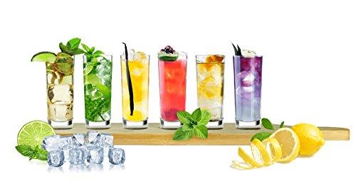 Sendez 6 Schnapsgläser mit Holzbrett 60ml Verkostungsset Tequilagläser Wodkagläser Stamper