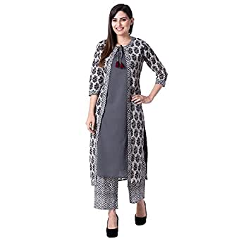 Khushal Women's Cotton Printed Jacket Kurta Inner With Palazzo Pant Set