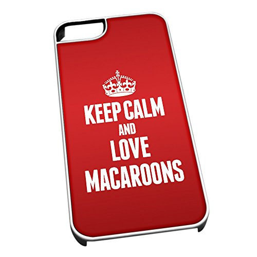 Bianco cover per iPhone 5/5S 1242 Red Keep Calm and Love macarons