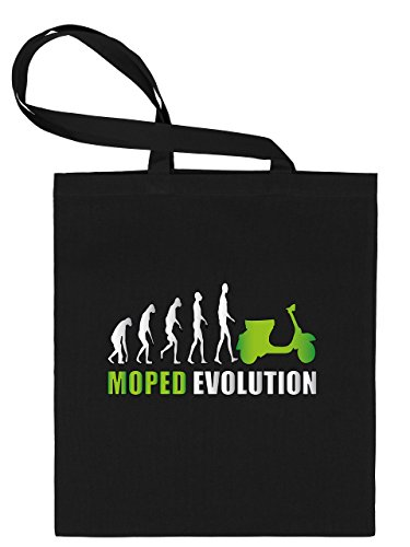 Ciclomotore Evolution–sacchetto di stoffa stampato su un lato con manici lunghi–golebros, 100% cotone, nero/verde, Unisex