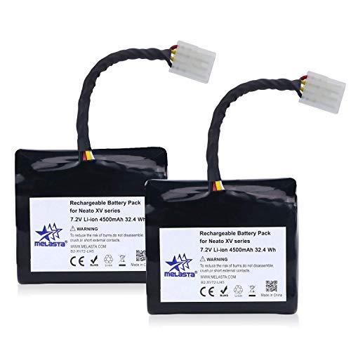 Melasta 2pcs Batería de iones de litio de 7.2v 4500mAh de larga duración para la serie Neato XV XV-21 XV-11 XV-12 XV-14 XV-15 XV-25 XV Aspiradora Essential Signature Pro Pro,cellules de grade A +