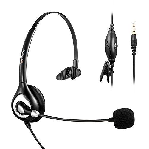 Arama Handy-Headset mit Noise Cancelling Mikrofon und verstellbarem Fit Stirnband für iPhone Samsung LG HTC Blackberry Huawei ZTE Handy und Smartphones mit 3,5 mm Klinke (A600MP)