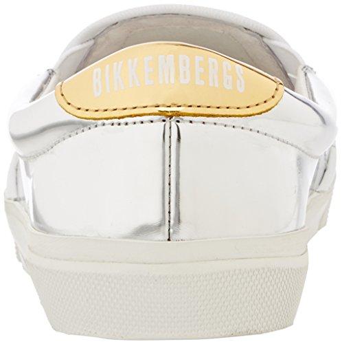 Bikkembergs Rubb-Er 690 Slip On W Shiny S.Leather, Pompes à Plateforme Plate Femme Argent (Silver/Gold)