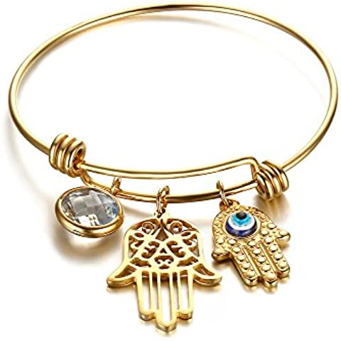 Vnox Cristal de acero inoxidable Ojo malvado Hamsa Hand Charm Brazalete ajustable de brazalete de alambre ajustable para las mujeres Oro