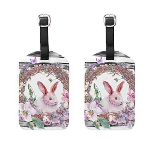 Hunde 2-stück Gepäck-set (Kofferanhänger für Gepäck Koffer 2 STÜCKE Osterhasen Leder Reisetasche Adressetiketten)