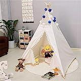 Tienda de fotografía infantil Tienda tipi for niños Tienda india Play Encaje y diseño de bola de pompón Tienda de tipi de lona de algodón plegable Decoración de la habitación Playhouse con alfombra re