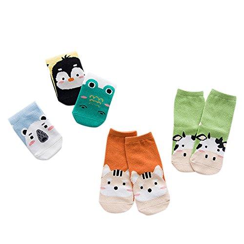Muster Fußkettchen Socken (Zantec 5 Paare / Pack Baby Kinder Atmungsaktive Baumwolle Socken Cute Cartoon 3D Form Fußkettchen Socken)