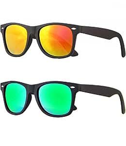 caripe Wayfarer Retro Nerd Vintage Sonnenbrille verspiegelt - SP (2er Set - schwarz gummiert - 1x bluegreen - 1x sun verspiegelt)