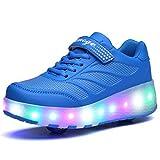 YIWALK LED Leuchtet Sneakers Mit Zwei Räder Skateboard Schuhe Sport Turnschuhe Kinder und Erwachsene (Blau 37 EU)