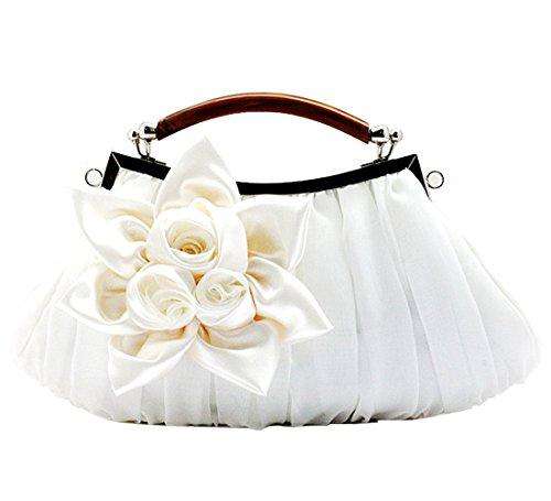 KAXIDY Borsa Pochette Fiori Borsa Sacchetto Donne Eleganti Pochette Da Sera (Bianco) Bianco
