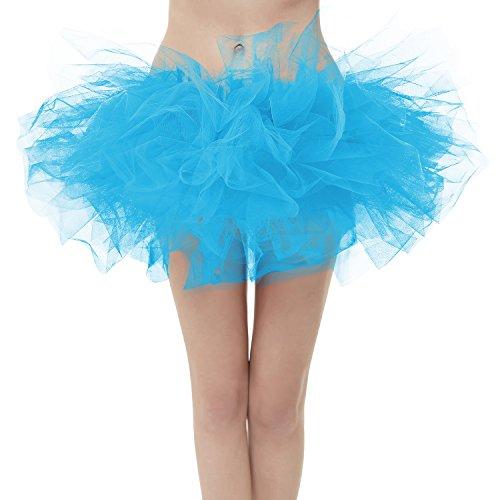 GirstunmBrand Damen 50er Mini Tüll Tutu Puffy Ballett Bubble Rock Blau-Plus Size (Size Dance Plus Kostüme)