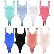 TiaoBug Body Femme String Justaucorps Combinaison V Col Élastique ... e3875df6920