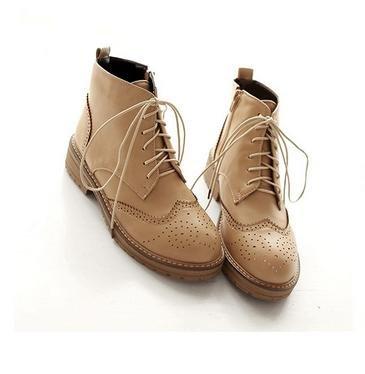 &ZHOU Bottes d'automne et d'hiver courtes bottes femmes adultes Martin bottes Chevalier bottes a17 beige