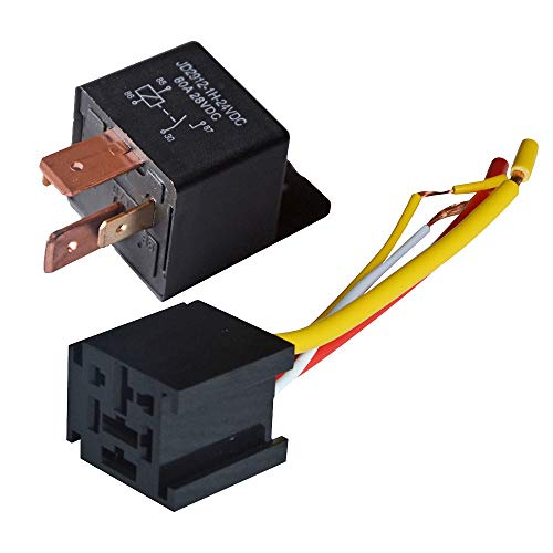 Ehdis [1 Packung Car Truck Motor Heavy Duty Heavy Duty 4-Pin 80A 24V EIN/Aus Normal offen SPST Relais Steckdose Stecker 4 Wire Automotive - Kabel Motor Company