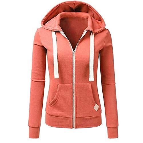 Luckycat Frauen Langarm Patchwork einfarbig mit Kapuze reißverschluss Casual Sport Mantel Jacken Mäntel Sweatjacke Winterjacke Fleecejacke Steppjacke