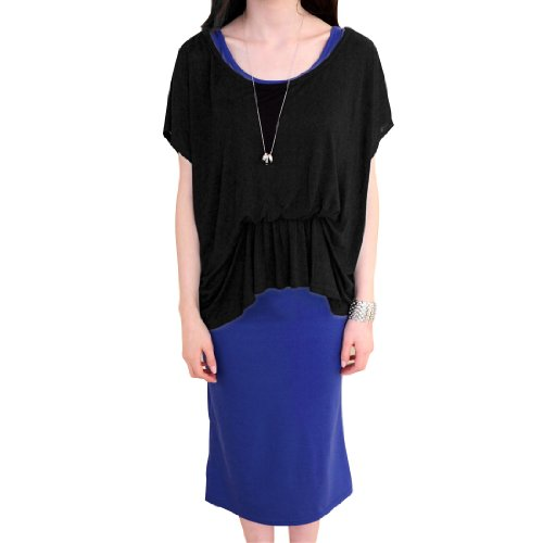 Femmes Faux Deux Pieces élastique Taille Décontracté Mi-mollet Robe Bleu Noir XS Noir