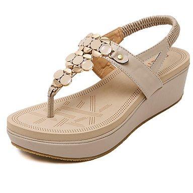 LvYuan Sandali-Ufficio e lavoro Formale Casual-Comoda Club Shoes-Zeppa-PU (Poliuretano)-Nero Tessuto almond Black