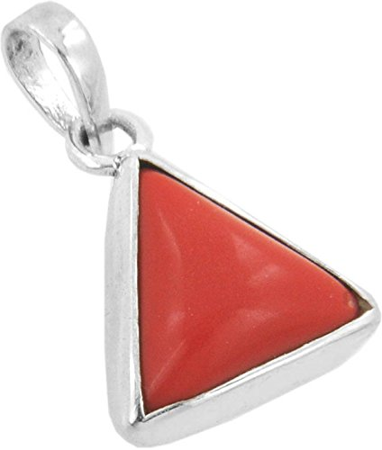 Malabar Gems Lab Certified Triangular Red Coral Pendant, Moonga Locket in 925 Silver