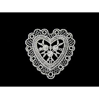 altotux 7x 6,3cm weiß Rayon Herz Venise Spitze Motiv Aufnäher Patch von 3Pcs